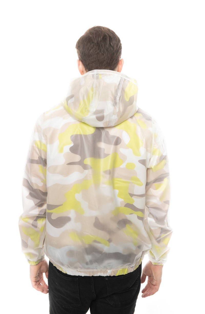 Men's Translucent Camo Print Popover Jacket