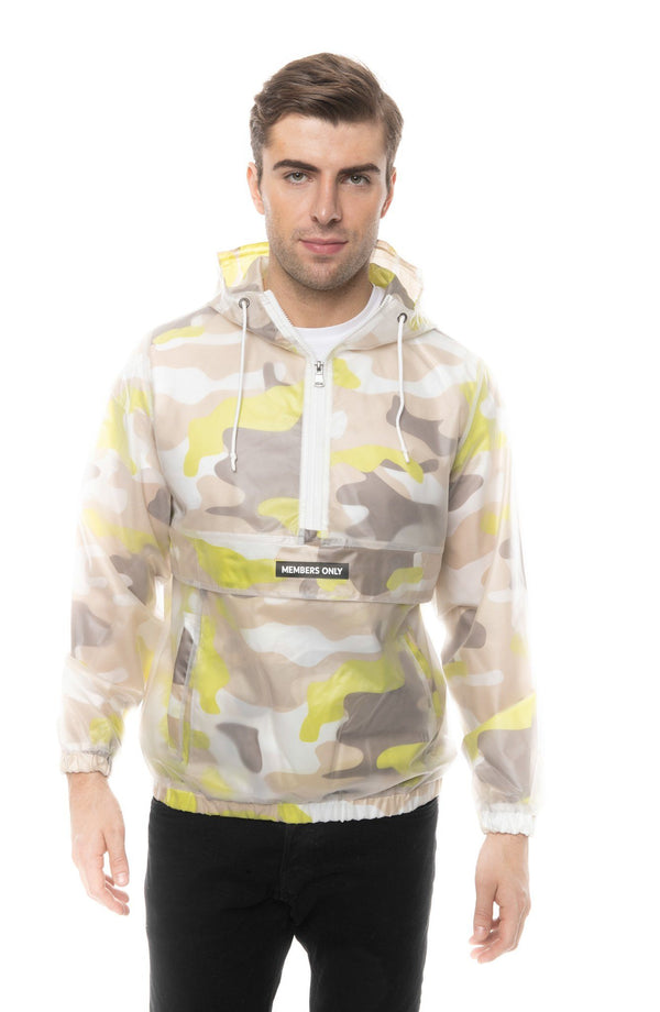 Men Translucent Camo Print Popover Jacket