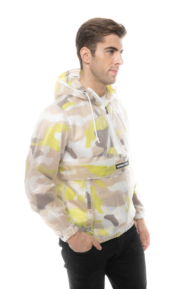 Translucent Camo Print Popover Jacket for Men