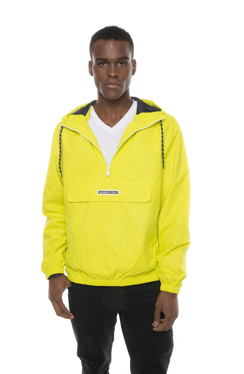 Men's Solid Popover Jacket  Lime