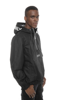 Men's Solid Popover Jacket Black