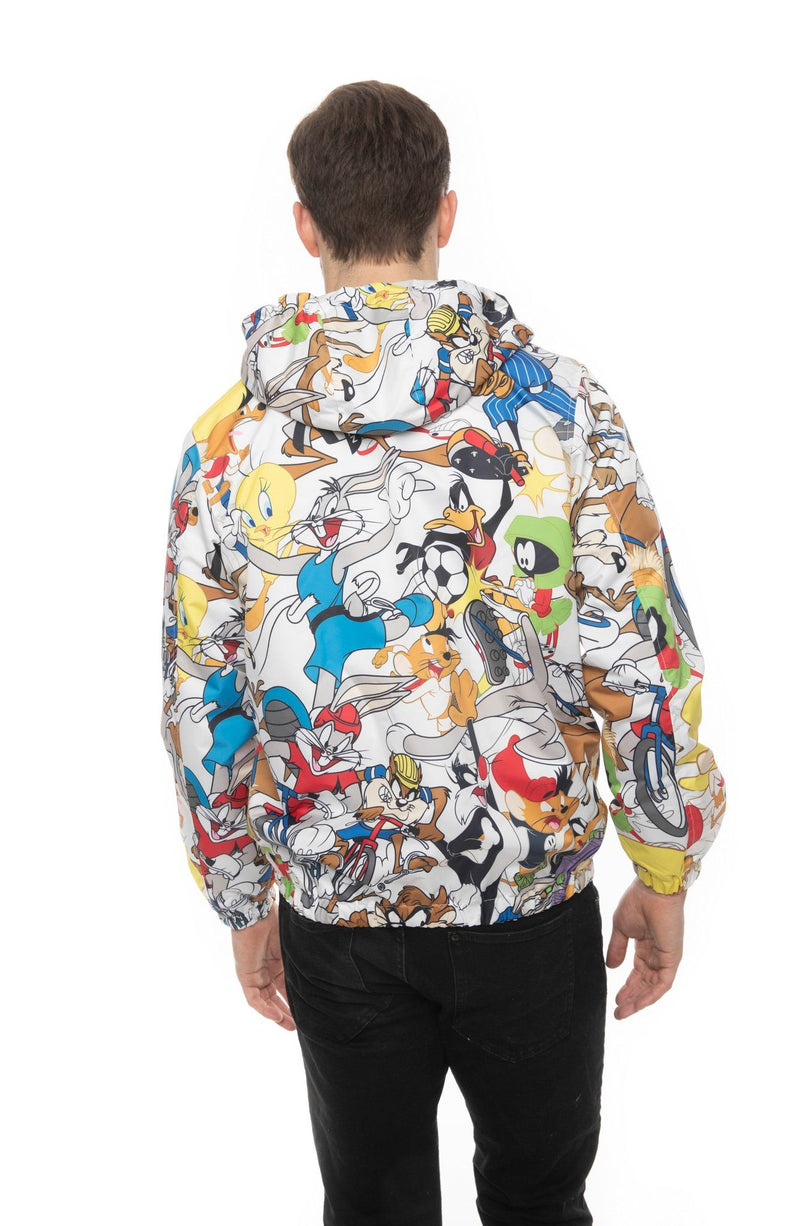 Mens Looney Tunes Collab Print Windbreaker Jacket Back