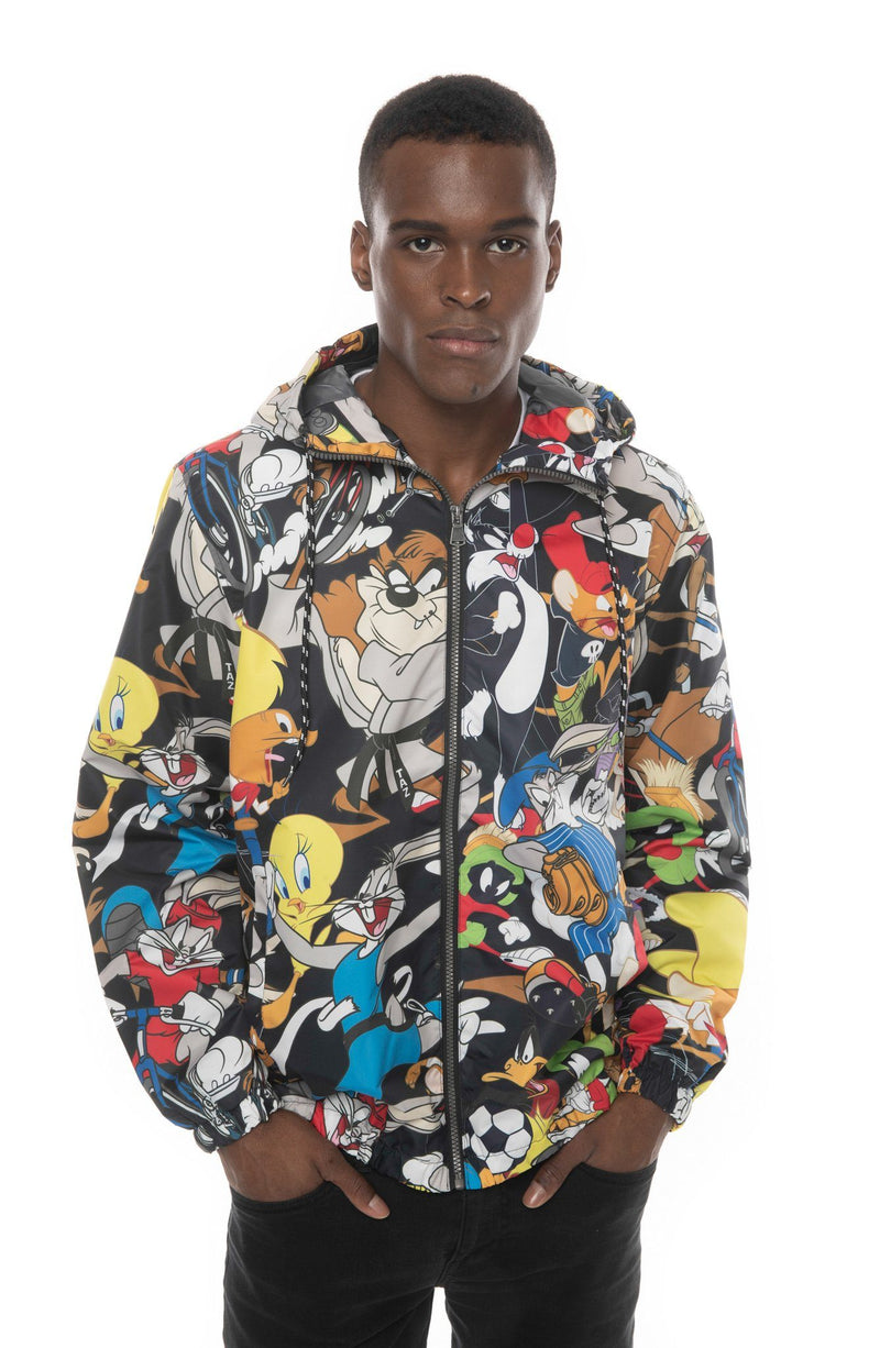 Mens Looney Tunes Collab Print Windbreaker Jacket