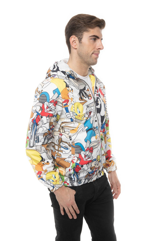 Mens Looney Tunes Collab Print Windbreaker Jacket Side