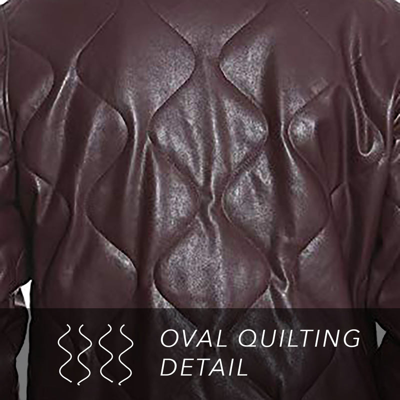Men's Faux Leather Oval Quilted Bomber Jacket