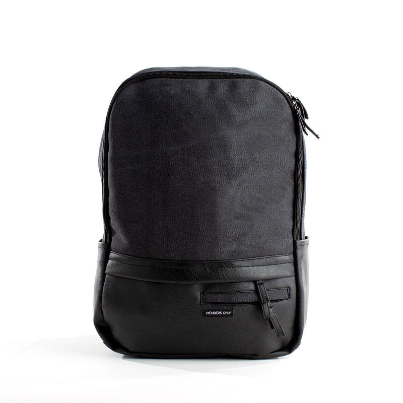 Clearance - Canvas and Vegan Leather Backpack- Charcoal