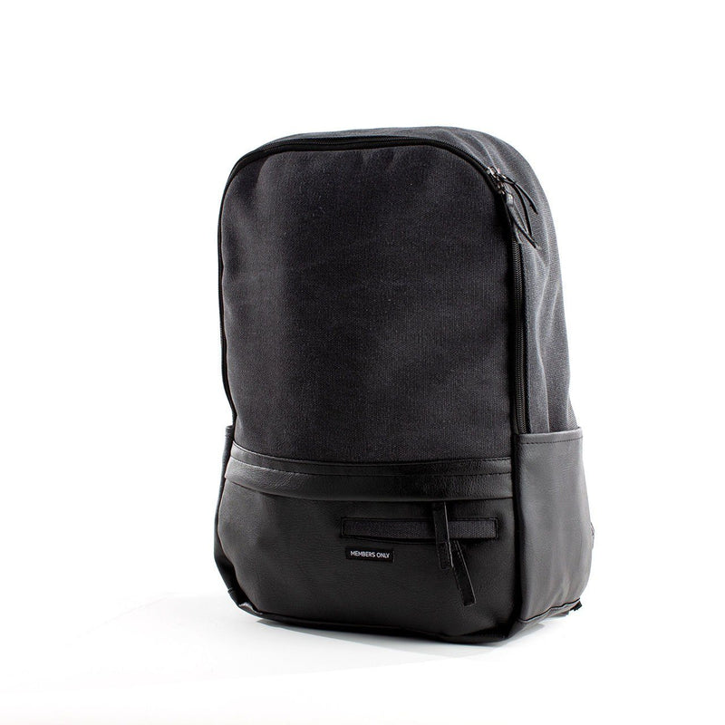 Canvas and Vegan Leather Backpack- Charcoal
