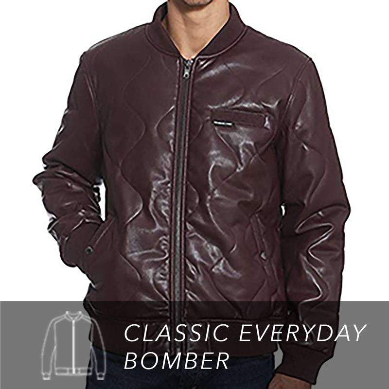 Men's Faux Leather Oval Quilted Bomber Jacket Front