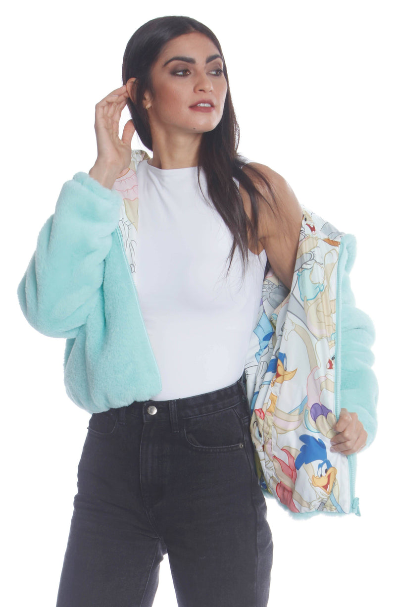 Shop Plush Faux Rabbit Fur Reversible Bomber with Looney Tunes Satin Mashup Print Lining Jacket for Women Members Only
