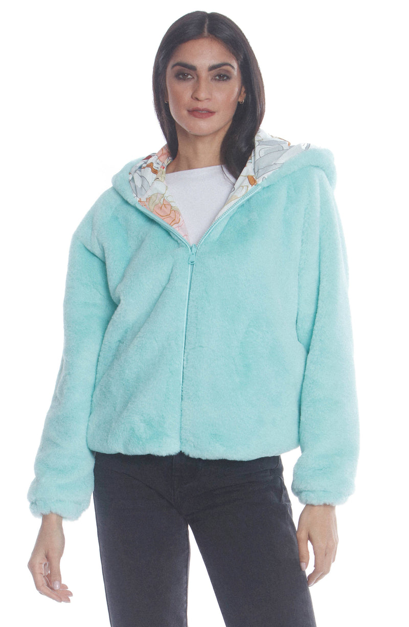 Women's Plush Faux Rabbit Fur Reversible Bomber with Looney Tunes Satin Mashup Print Lining Jacket