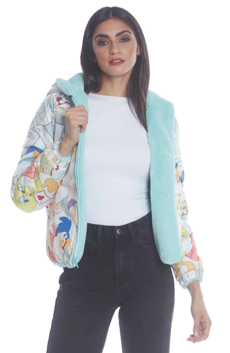 Plush Faux Rabbit Fur Reversible Bomber with Looney Tunes Satin Mashup Print Lining Jacket for Women's