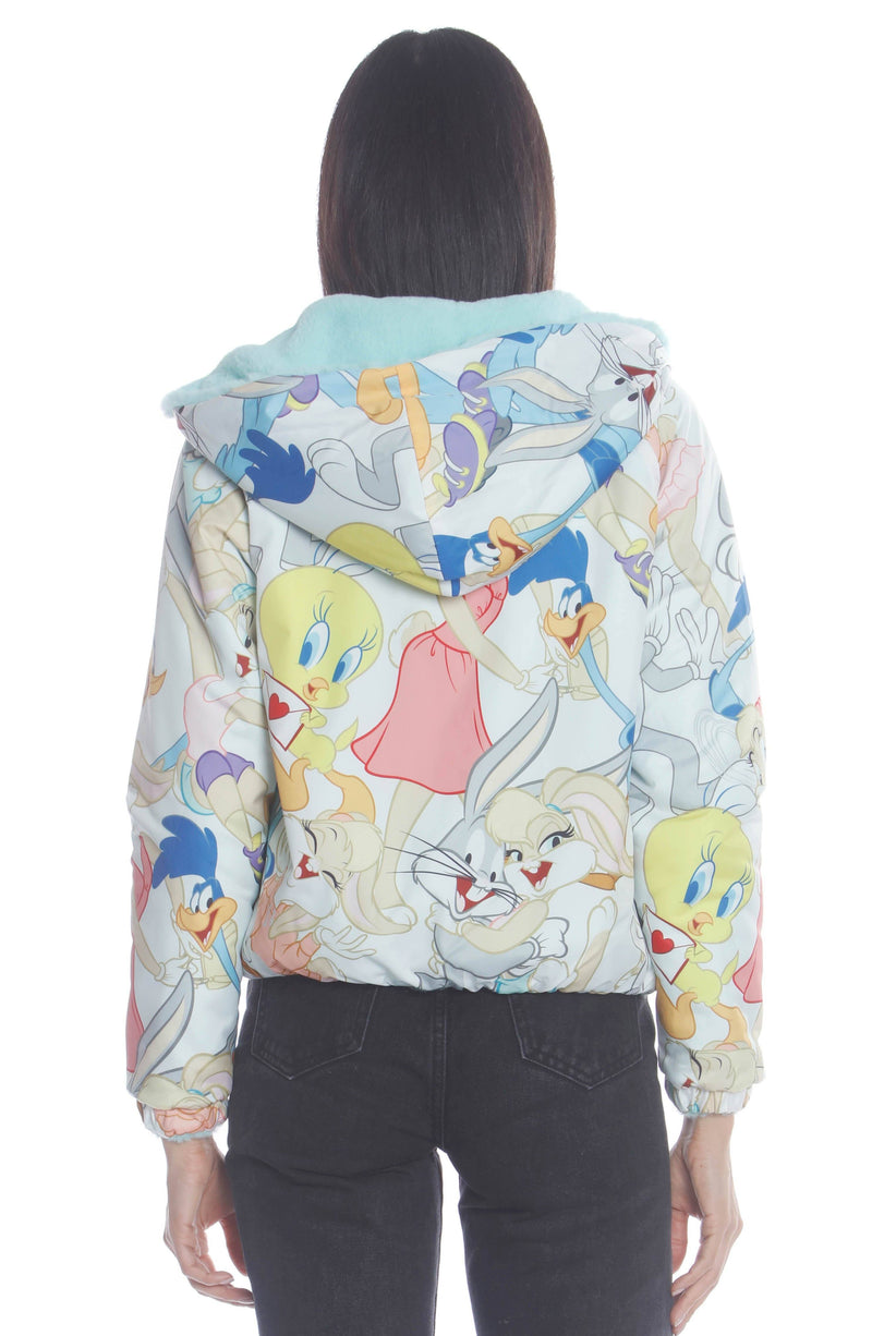 Women's Plush Faux Rabbit Fur Reversible Bomber with Looney Tunes Satin Mashup Print Lining Jacket Womens Jacket Members Only Official