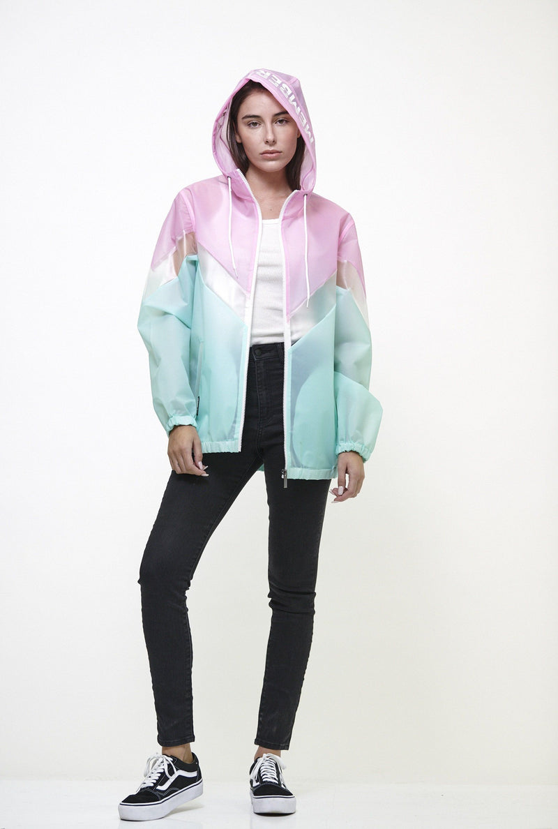 Clearance - Women's Color Block Translucent Short Jacket