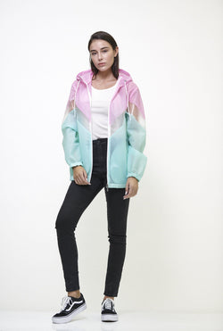 Women's Color Block Translucent Short Jacket