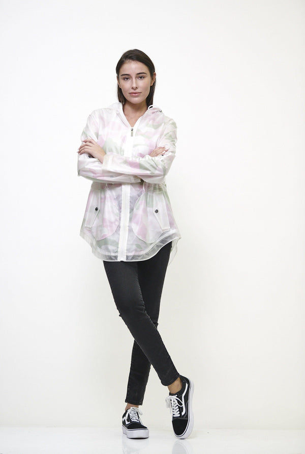 Clearance -Women's Translucent Long Jacket Pink Camo