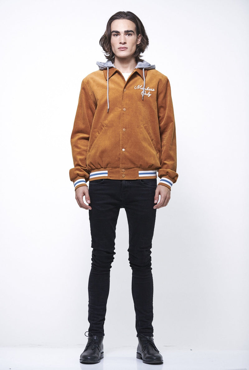Men's Corduroy Varsity Jacket with Hood