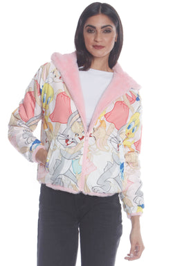 Women's Plush Faux Rabbit Fur Reversible Bomber with Looney Tunes Satin Mashup Print Lining Jacket Members Only Official