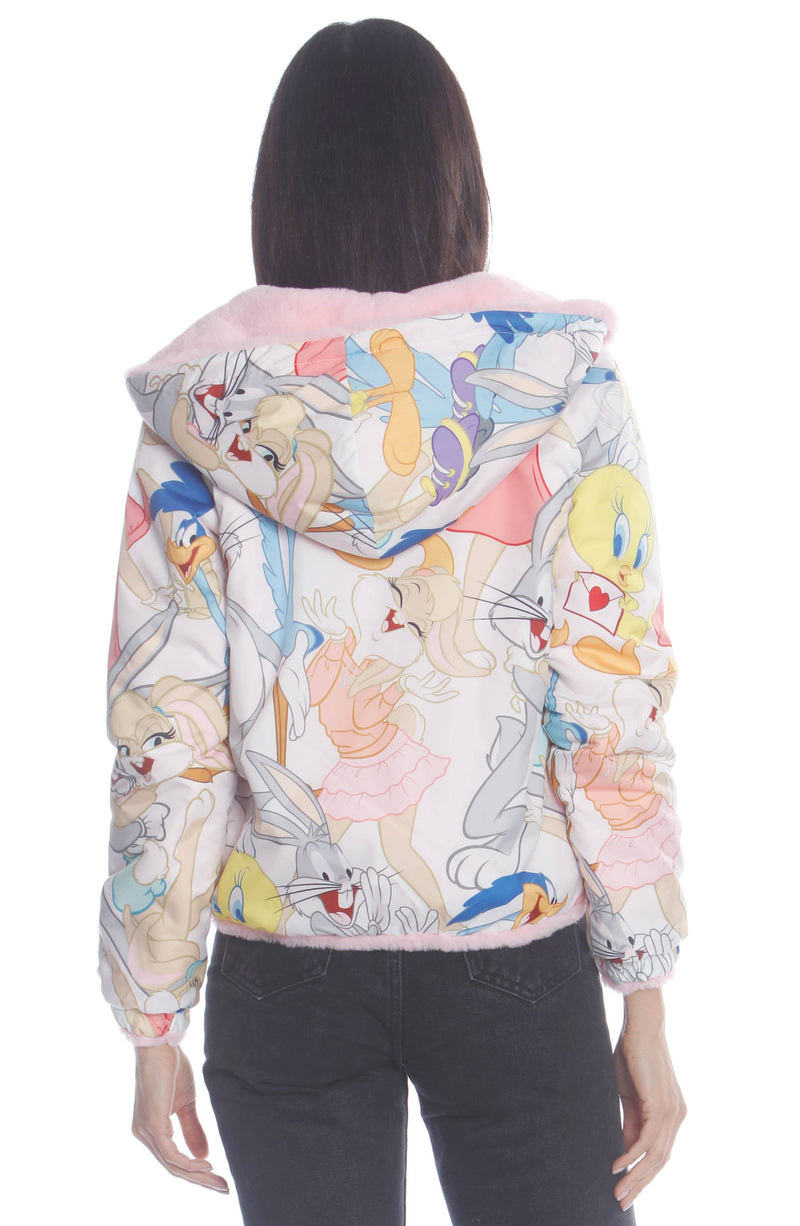 Women's Plush Faux Rabbit Fur Reversible Bomber with Looney Tunes Satin Mashup Print Lining Jacket Members Only