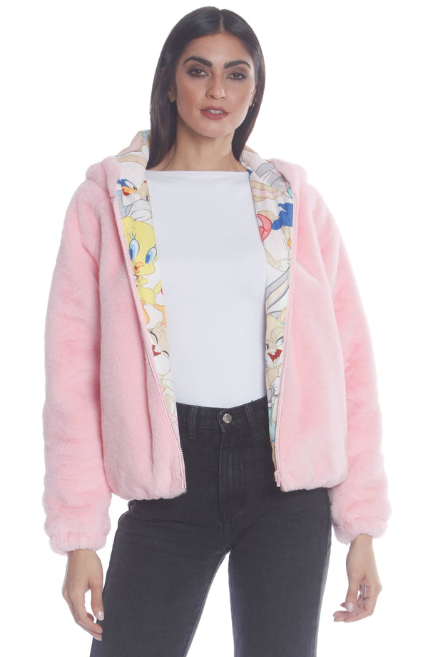 Women's  Faux Rabbit Fur Reversible Bomber Looney Tunes Satin Mashup Print Lining Jacket Pink