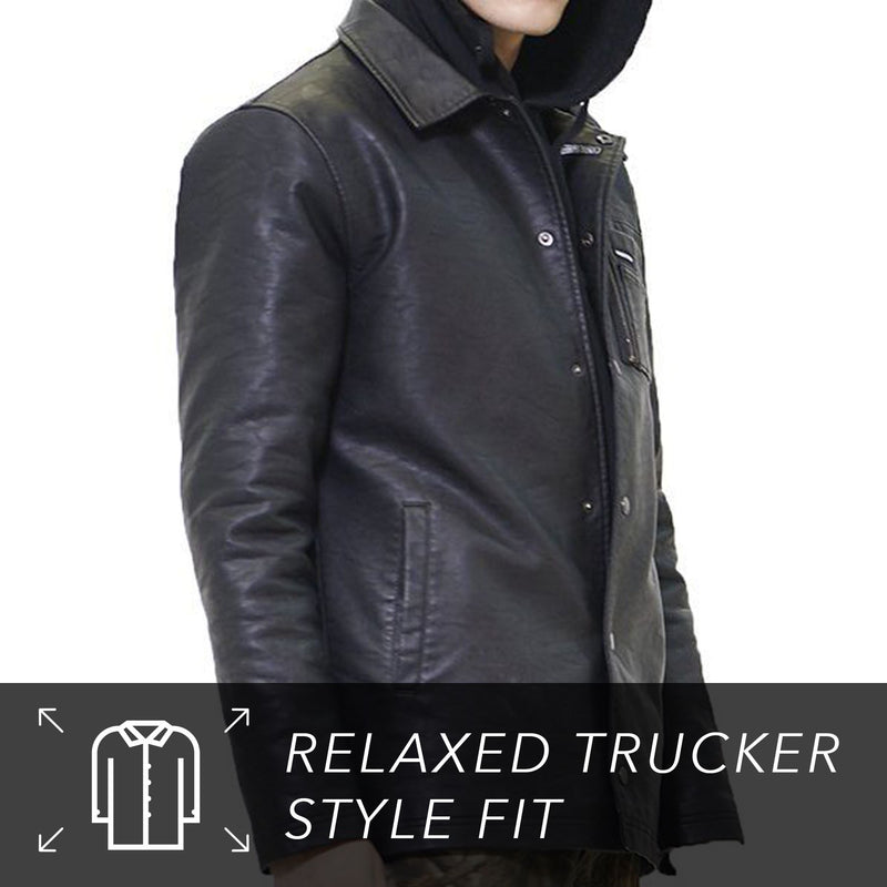 Men's Faux Leather Coach Jacket
