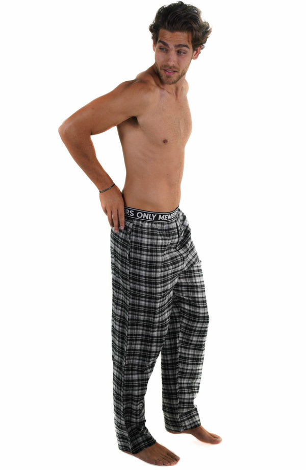 Men's Flannel Sleep Pants Logo Elastic - GREY Sleepwear Pants Members Only