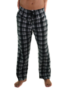Men's Minky Fleece Sleep Pants - BLACK PLAID