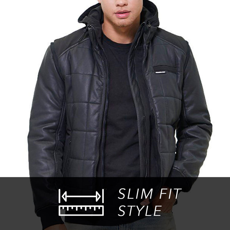 Men Grid Quilted Bomber Jacket (And Vest) - Members Only