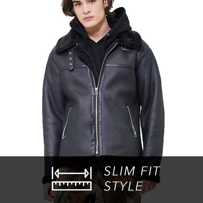 Clearance - Men's Faux Shearling Biker Jacket