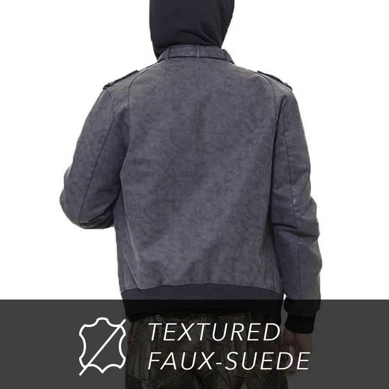 Clearance - Men's Faux Suede Iconic Racer Jacket