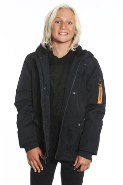 Boy's Satin Mid Weight Anorak Jacket - Members Only Official