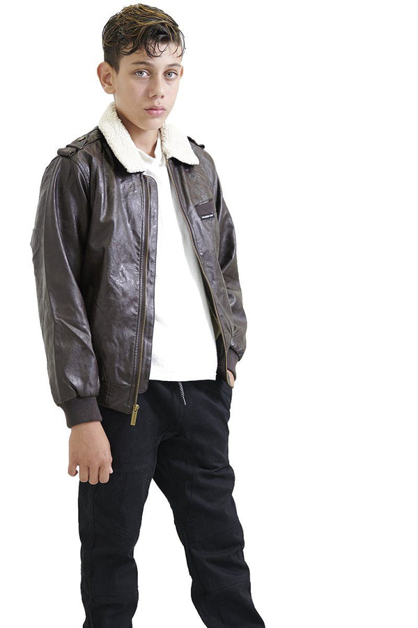 Boy's Berber Lined Faux Leather Bomber Jacket - Members Only Official