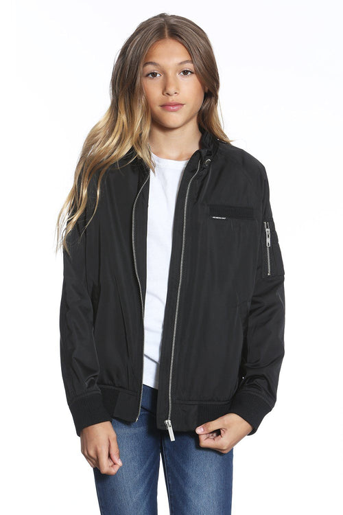 Girl's Elongated Satin Boyfriend Bomber Jacket