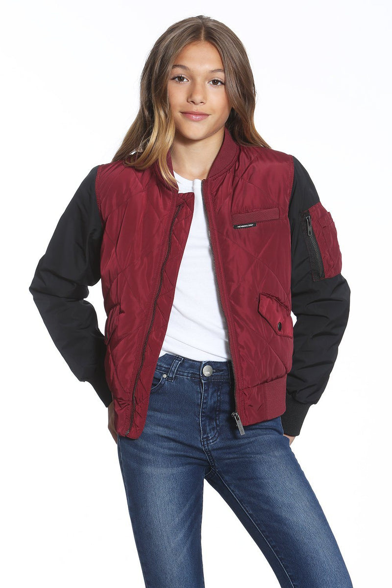 Girl's Quilted Bomber Jacket - Members Only Official