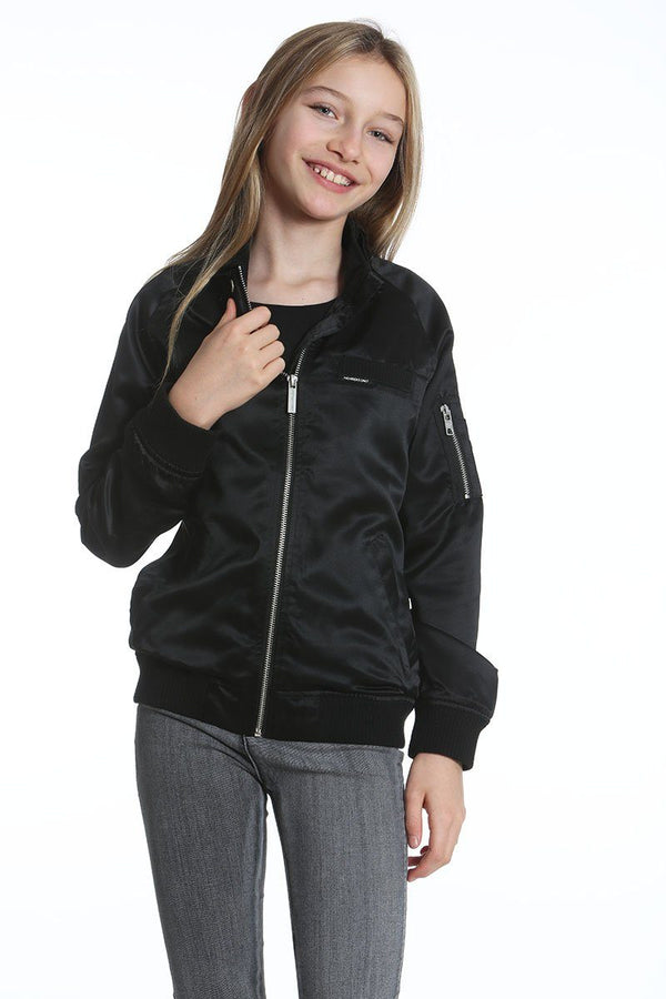 Girl's Washed Satin Boyfriend Bomber Jacket - Members Onlyå¨ Official