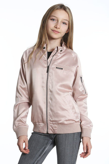 Girl's Washed Satin Boyfriend Bomber Jacket