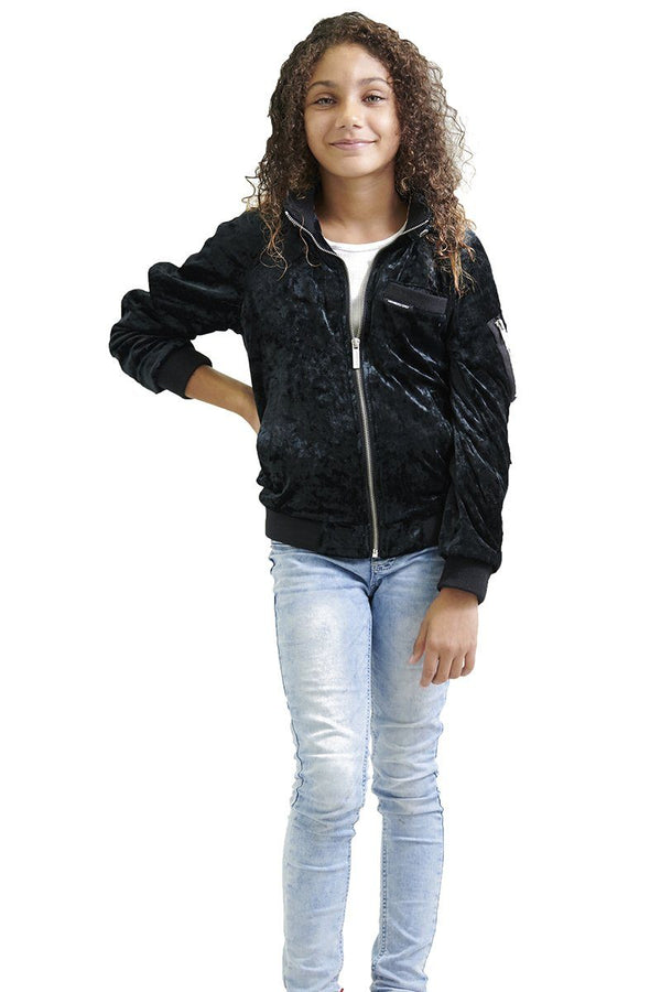 Girl's Crushed Velvet Bomber Jacket - Members Only® Official