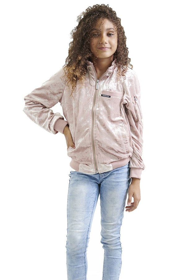 Girl's Crushed Velvet Bomber Jacket - Members Only Official