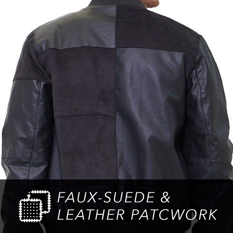 Men's Mixed Suede Color Block Bomber Jacket Back
