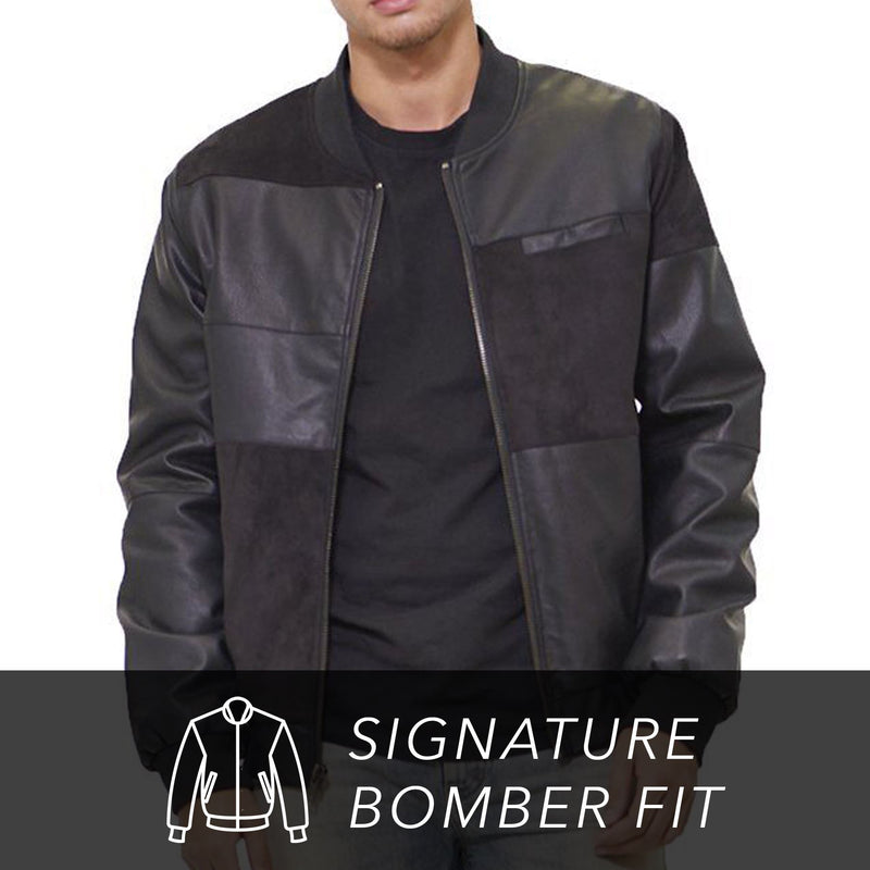 Men's Mixed Suede Color Block Bomber Jacket - Members Only