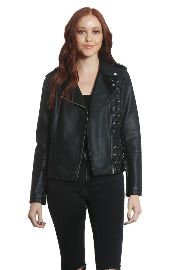 Women's Vegan Leather Moto Jacket - Members Only Official