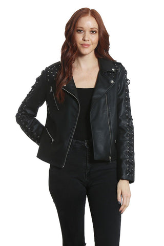 Women's Studded Vegan Leather Jacket - Members Only® Official