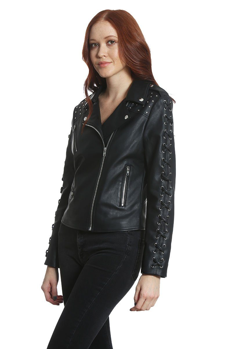 Women's Studded Vegan Leather Jacket - Members Only Official