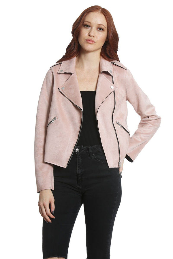 Buy Women's Faux Suede Moto Jacket  Light Pink