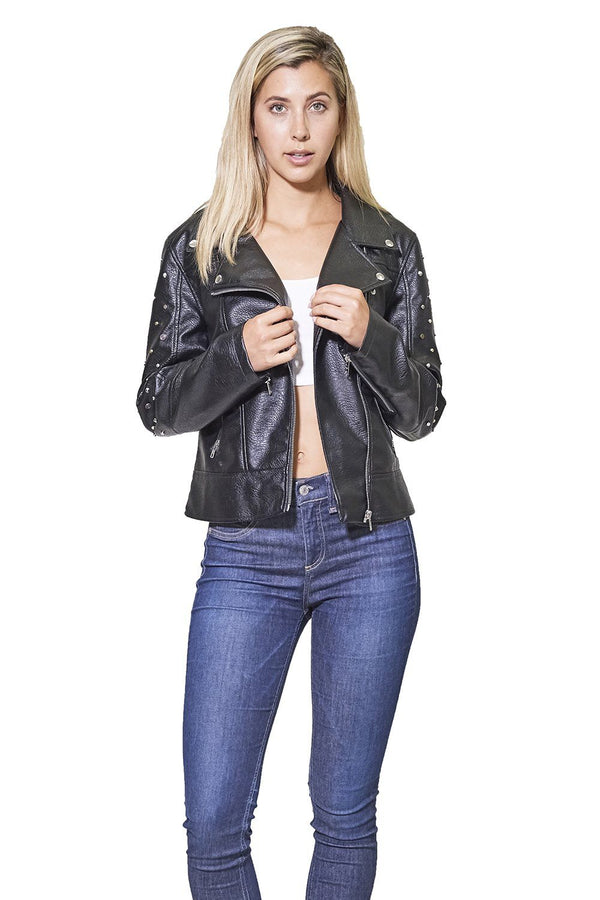 Women's Faux Leather Studded Biker Jacket - Members Only Official