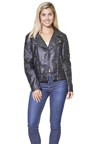 Women's Faux Leather Studded Biker Jacket - Members Only® Official