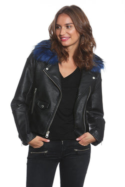 Women's Faux Fur Blue Rocker Moto Jacket - Members Only Official
