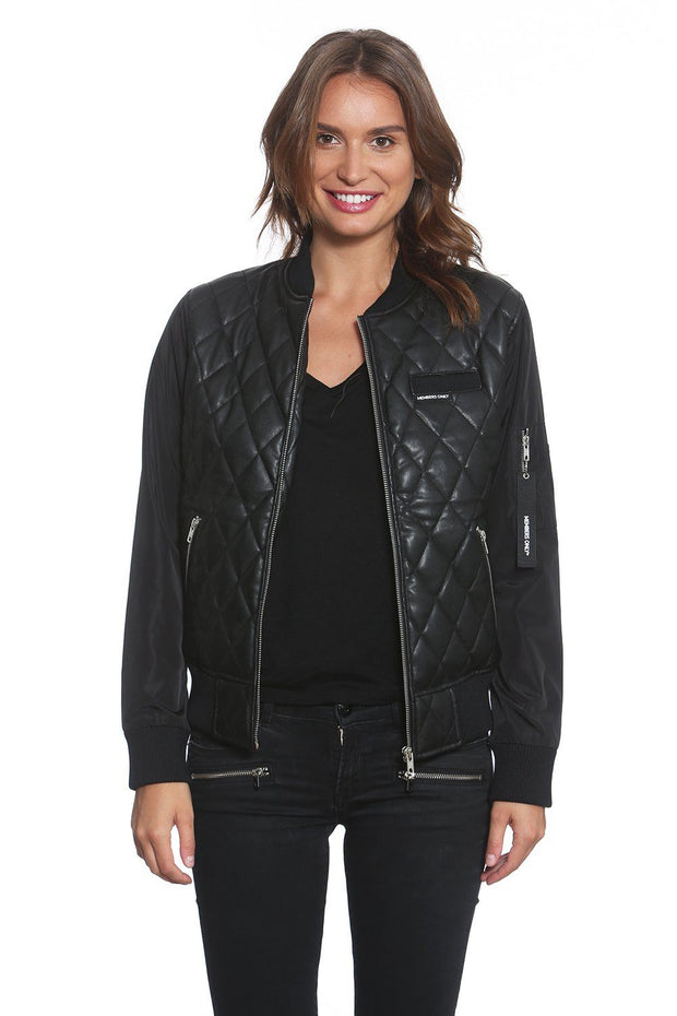 Womens Faux Leather Quilted Bomber Members Only Official