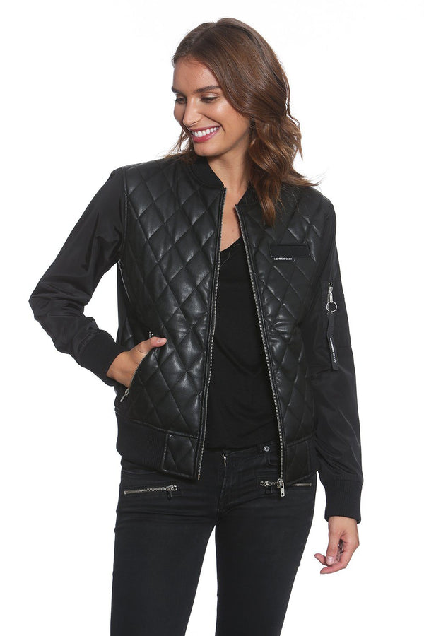 Faux Leather Quilted Bomber Jacket  For Women