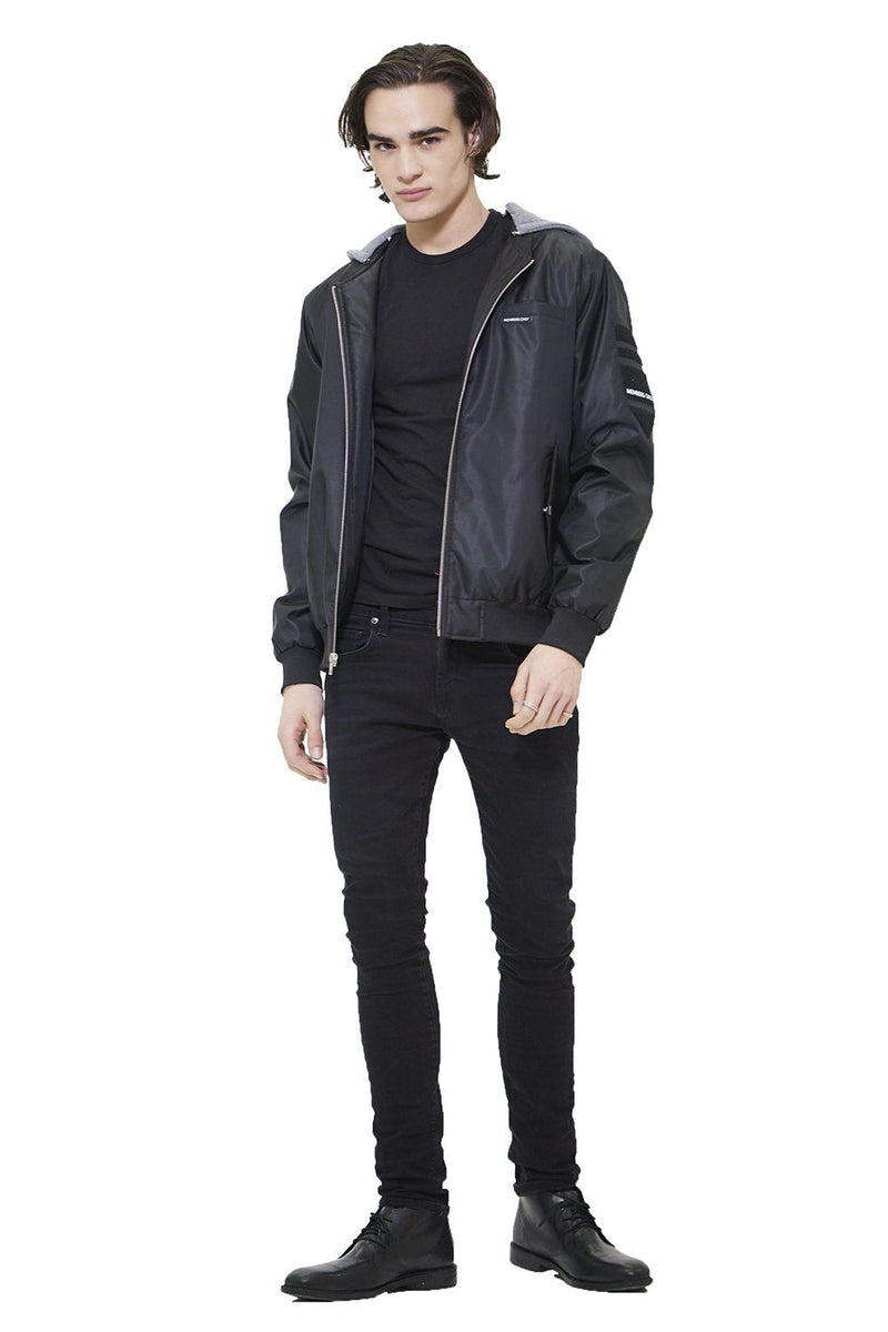 Members Only Men's Flight Satin Twill Hooded Jacket
