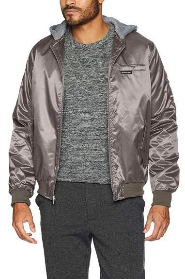 Men Flight Satin Twill Hooded Jacket - Members Only